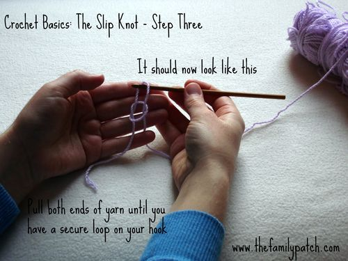 Family Patch Tutorial Slip Knot Step Three
