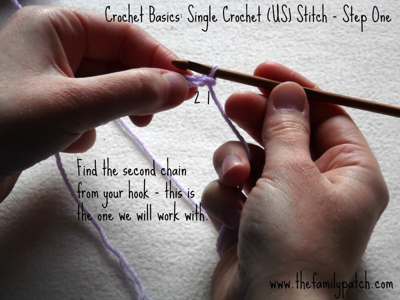 Family Patch Tutorial Single Crochet Step One